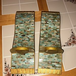 Pair of wall candle holders